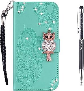 Grandoin Hülle für Samsung Galaxy S20, Bling Glitzer Glitter Handyhülle im Brieftasche Stil Handytasche PU Leder Flip Cover Case Schutzhülle Etui (Grün)