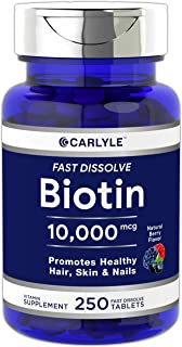 Biotin 10000mcg | 250 Fast Dissolve Tablets | Max Strength | Hair, Skin, and Nails Supplement | Vegetarian, Non-GMO, Glute...