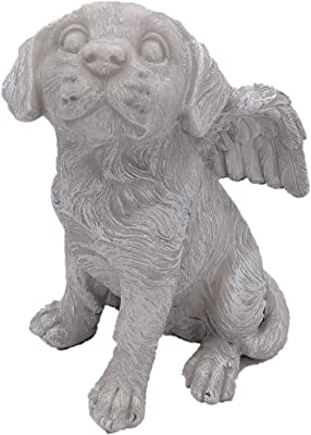 "Comfy Hour 7"" Dog Angel Figurine - in Memory of My Best Friend Bereavement, Light Gray"
