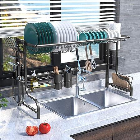Plasaig Égouttoir à vaisselle pour évier,égouttoir pour comptoir de cuisine, étagère de rangement pour fournitures de cuisine, organisateur de comptoir, acier inoxydable.