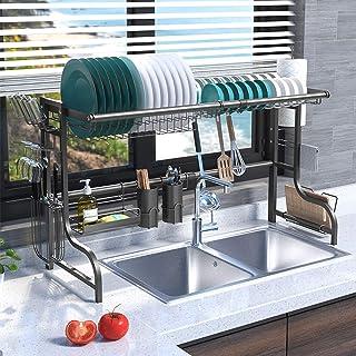 Plasaig Égouttoir à vaisselle pour évier,égouttoir pour comptoir de cuisine, étagère de rangement pour fournitures de cuis...