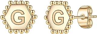 أقراط مسمار الأولي للفتيات، S925 الفضة الاسترليني بوست الأبجدية القلب القرط سداسي الأقراط مطلية بالذهب لا تسبب الحساسية ال...