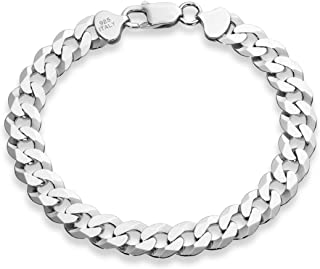 925 Sterling Silver Italian Solid 9mm Diamond-Cut Cuban...