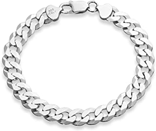 MiaBella 925 Sterling Silver Italian Solid 9mm Diamond-Cut Cuban Link Curb Chain Bracelet for Men 7.5, 8, 8.5, 9 Inch, Made in Italy