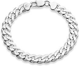 Miabella 925 Sterling Silver Italian Solid 9mm Diamond-Cut Cuban Link Curb Chain Bracelet for Men 7, 7.5, 8, 8.5, 9 Inch, ...