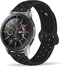 Compatible Samsung Gear S3 Frontier/Samsung Galaxy Watch 46mm Bands,22mm Silicone Breathable Replacement Strap Quick-Release Pin for Gear S3 Frontier Smart Watch (Black-Black)