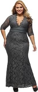 Women's Plus Size 3/4 Sleeve V Neck Lace Evening Party Wedding Dress