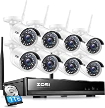ZOSI 1080P 8 Channel Wireless Home Security Camera System Outdoor,H.265+ 2MP Surveillance NVR Recorder with Hard Drive 1TB...