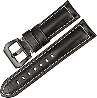 MAIKES Watch Band Special Oil Wax Leather Watch Strap 22mm 24mm 26mm with Stainless Steel Buckle Watchband