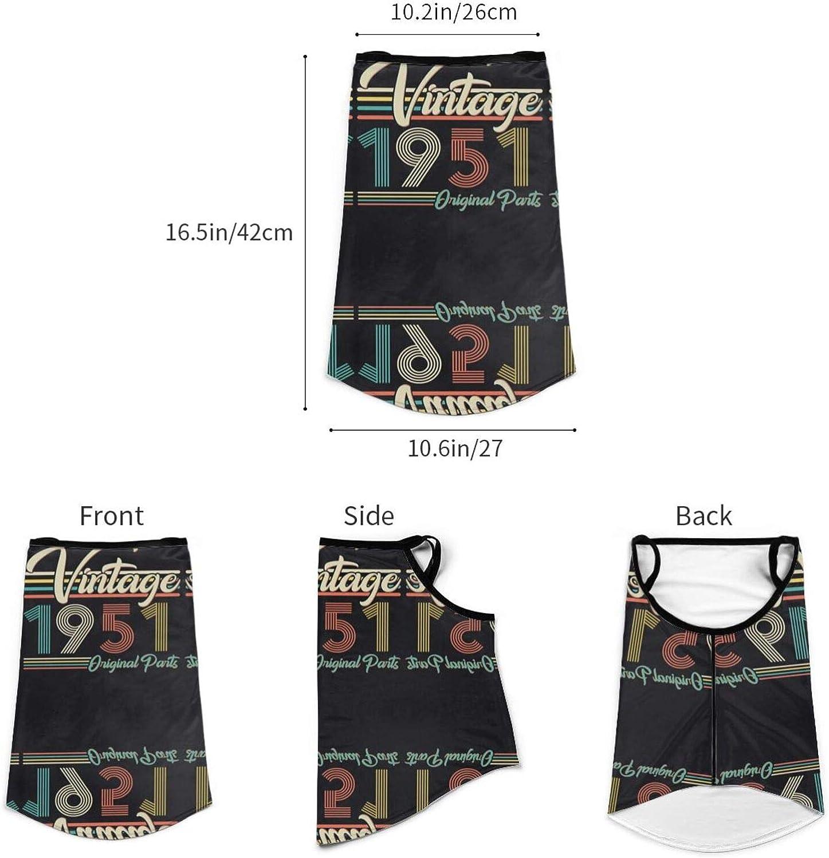 Ear Hangers Face Balaclava Vintage 1951 Original Parts 70th Birthday Retro Black Protective Cover Wristband Bandanas Neck Gaiter Dust-Proof,Anti-Pungent Gas,Washable