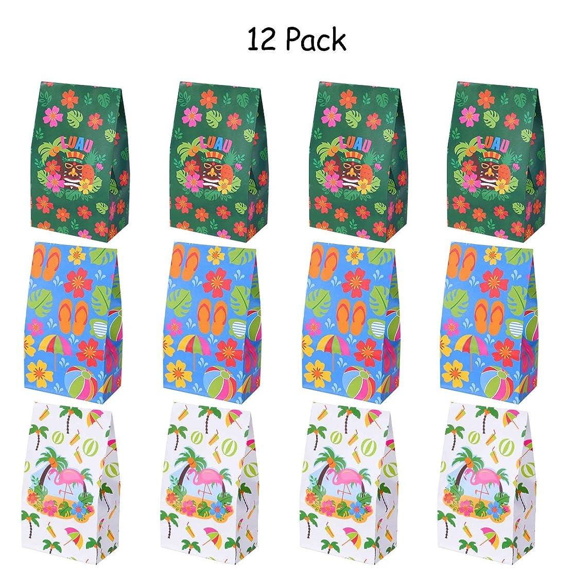 LUOEM Luau Hawaiian Treat Bags Hibiscus Gift Bags Treat Bags Candy Bags Paper Treat Sacks for Birthday Wedding Party Supplies 12PCS