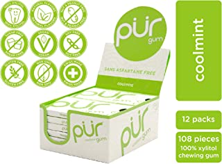 PUR 100% Xylitol Chewing Gum, Coolmint, 9 Pieces per Pack (Tray of 12) Sugar-Free + Aspartame Free, Vegan + non GMO