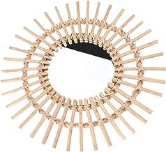 YARNOW Rotan Frame Muur Spiegel Muur Spiegel Kaki Rotan Decoratieve Spiegel Houten Muur Ronde Spiegel Collectie Voor Thuis...