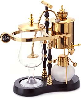 Diguo Belgian/Belgium Luxury Royal Family Balance Siphon/Syphon Coffee Maker. Elegant Double Ridged Fulcrum with Tee handle (Egyptian Black & Gold)