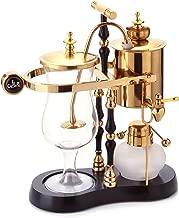 Diguo Belgian/Belgium Luxury Royal Family Balance Siphon/Syphon Coffee Maker. Elegant Double Ridged Fulcrum with Tee handle (Egyptian Black & Gold)