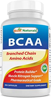 Best Naturals BCAA Branch Chain Amino Acid, 3200mg per Serving, 400 Capsules - Pharmaceutical Grade - 100% Pure Instantized Formula | Pre/Post Workout Bodybuilding Supplement | Boost Muscle Growth