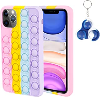 Pop Fidget Toys Rainbow Phone Case for iPhone11proPush Pop Bubble Popper Funny Toys Anxiety Relief Autism Protection Sh...