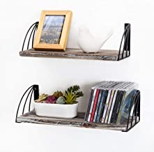MyGift Rustic Torched Wood and Arched Black Metal Wire Wall Mounted Hanging Display Shelves, Set of 2