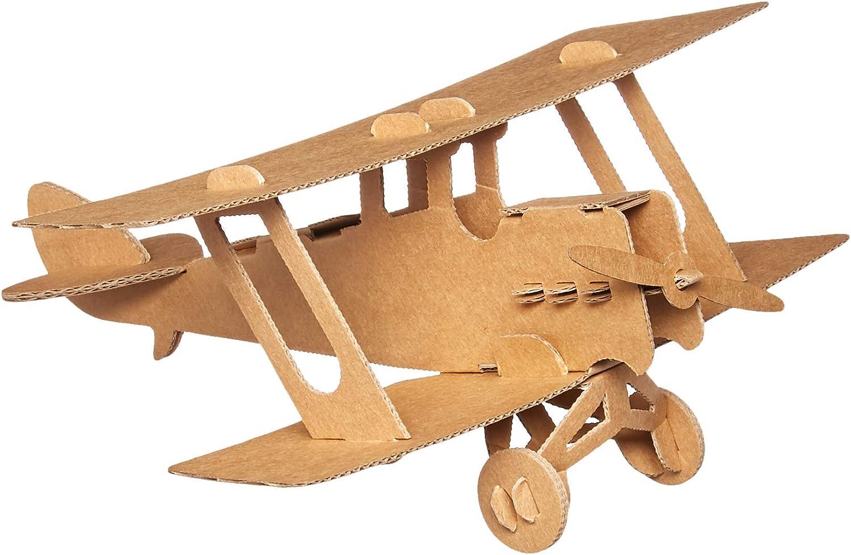 Leolandia Biplane Creative DIY Cardboard Airplane Model Natural