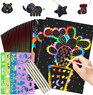 Dayup Scratch Art Paper, 59 Pcs Kids' Paper Craft Kits Rainbow Scratch Off Paper Set Scratch Arts Crafts Supplies Kits Pads Boards for Party Games