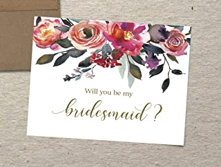 Will You Be My Bridesmaid Cards, Set of 10, Bridesmaid Card, Maid of Honor Card, Matron of Honor Card, Flower Girl Card