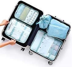 WHT Travel Packing Cubes Luggage Bags Waterproof Suitcase Organizers (6 Pcs Set) Shoe Bag Laundry Bag Toiletry Bag Sock Bag