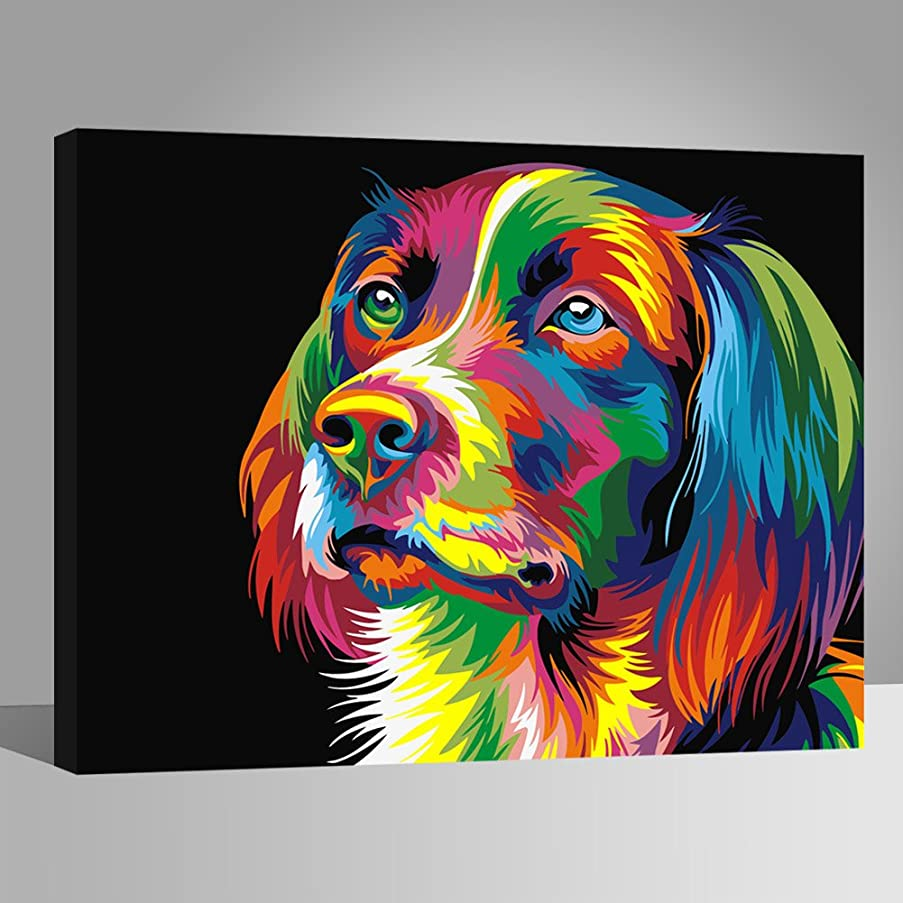 LIUDAO Paint by Numbers DIY Oil Painting for Adults Beginner - Abstract Dog - Painting on Canvas 16x20 Inches Wooden Frame
