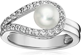 Platinum-Plated Sterling Silver Cubic Zirconia Freshwater Cultured Pearl Ring, Size 6