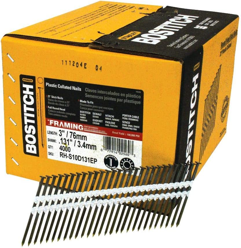 BOSTITCH Framing Nails, Round Head, 21-Degree, Plastic Collated,