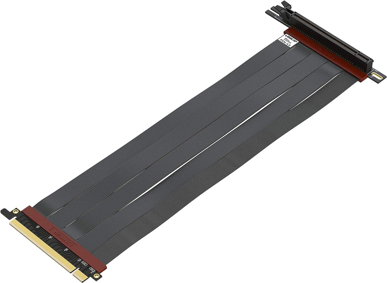 LINKUP - Cable Montante Ultra PCIe 4.0 X16 [Testado en RTX3090 RX6900XT x570 B550 Z590] Montaje Vertical Blindado Gaming PCI Express Gen4┃Enchufe Universal 90 Degree {30cm} Compatible con 3.0 Gen3