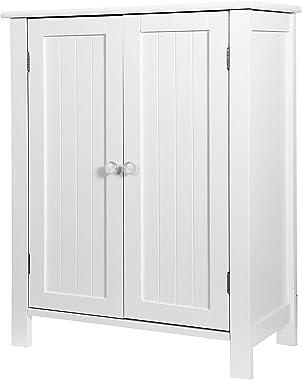 ZENY Bathroom Floor Storage Cabinet with Double Door Adjustable Shelf, 23.6 x 11.8 x 31.6 inch, White
