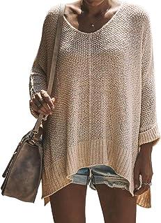 Exlura - Jersey para Mujer, Cuello en V, Suelto, de Gran tamaño, con Tirantes de Punto Alto y bajo
