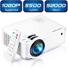 """Projector, [2020 Updated] Mini Projector 1080P Supported, 5500 Lux 210"""" Display with 52,000 Hrs LED Movie Projector Compatible with Phone,Computer,Laptop,USB,HDMI,VGA-Home,Office,Outdoor Entertainment"""