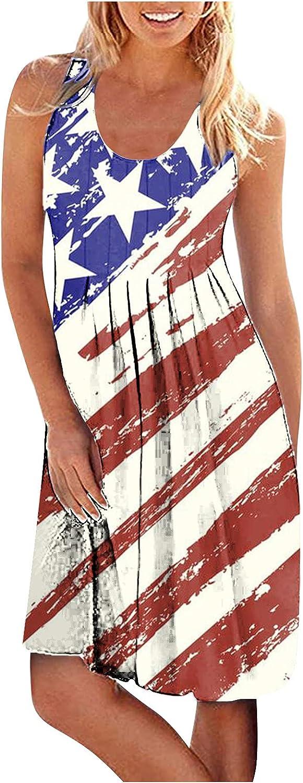 Aniwood Summer Dresses for Women Elegant,Women's Sleeveless Squar Collar Star-striped Maxi Dresses Casual Short Dresses