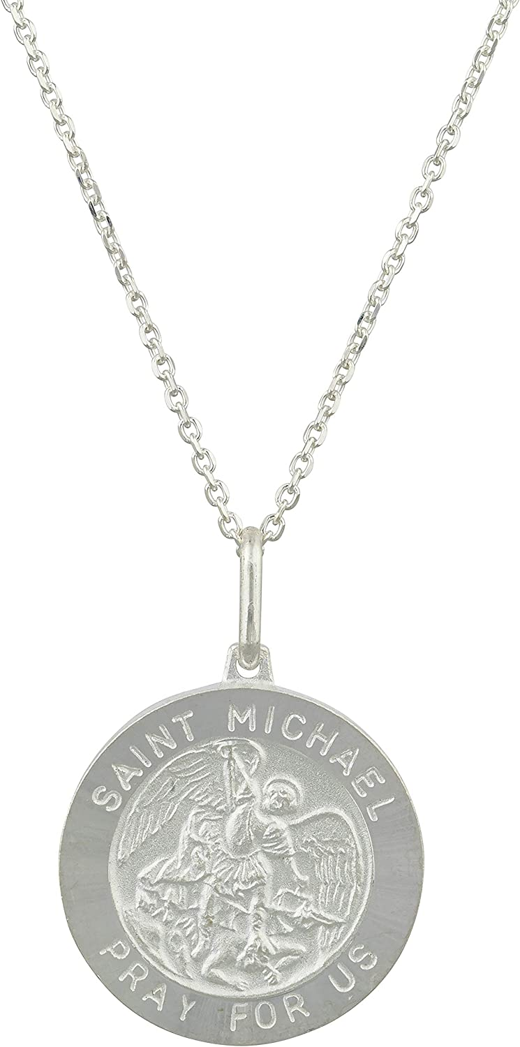 JOTW Sterling Silver Round Saint Low price Michael Us Genuine Free Shipping Charm Pray with for