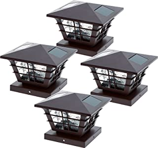 GreenLighting 5x5 Solar Powered Post Cap Light w/4x4 Base Adapter (Brown, 4 Pack)