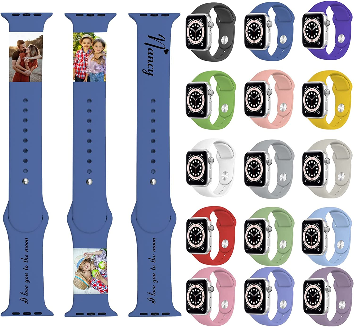 Custom Watch Band for Apple Personalized with Pictures Photo Name Text for Men Women 38mm 40mm 42mm 44mm Soft Silicone Sport Wristbands Replacement Strap for iWatch Series SE 6 5 4 3 2 1
