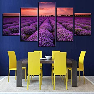 TYUIOP Canvas mural-canvas poster home decoration mural HD print pictures 5 pieces of purple lavender field sunset paintin...