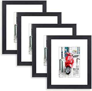 Langdon House 8x10 Picture Frame (4 Pack, Black) 8 x 10 Photo Frame with Mat for 5x7 Picture, Sturdy Wood Composite, Wall Mount Hooks Included with Black Picture Frames, Prima Collection…