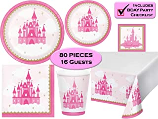 Little Princess Birthday Plates, Napkins, Cups, Tablecloth, Stickers - Pink Gold Princess Baby Shower or Birthday Party Su...