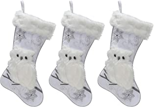 Silver Velvet Christmas Stockings - 3-Pack of 20 inch Holiday Stockings with Festive Owl Applique and Beaded Embroidery with Faux Fur Cuff