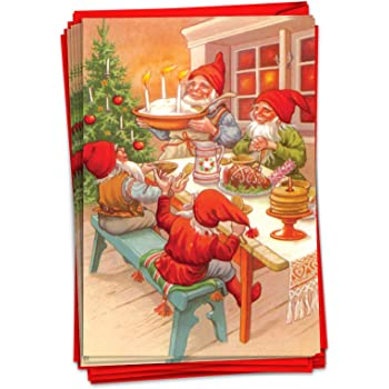 Amazon Com Nobleworks 12 Fun Christmas Cards With Envelopes Boxed Holiday Greeting Cards For Kids Festive Stationery 1 Design 12 Cards Gnome For The Holidays C6440bxsg B12x1 Office Products