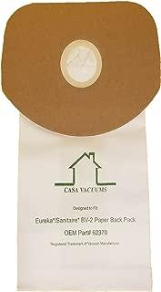 Casa Vacuums Eureka BV-2 Bags Fit Sanitaire, Backpack, Carpet Pro, Piranha, Tornado, Compatible with OEM Part # 62370 (20)