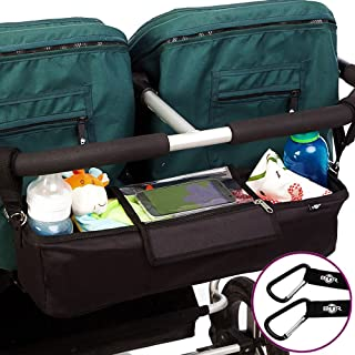 Best Double Stroller Organizer Storage Bag for Double/Twin/Tandem Strollers, Exclusive Phone-Pocket Cell Holder & Waterproof Rain Cover. Plus 2 Free Stroller Hooks. Must Have Stroller Accessory