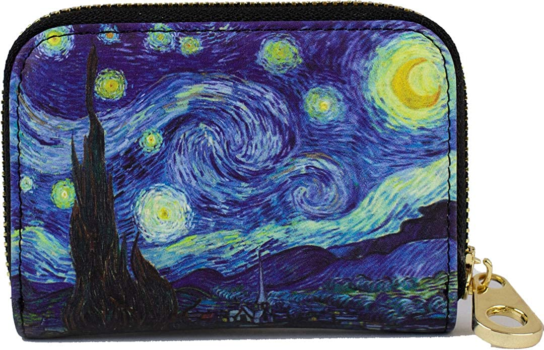 RFID Secure Armored Zipper Wallet - Starry Night by Vincent van Gogh