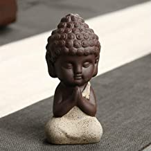 PPCP Home Small Buddha Statue Monk Figurines Teapet Ceramic Buddhist Craft Decorative Ornaments Buda Yoga Figurines (Color...
