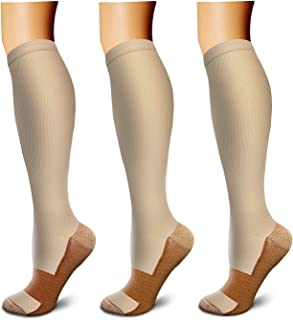 Copper Compression Socks (3 Pairs), 15-20 mmHg is Best Athletic & Medical for Men & Women, Running,Flight,Travel,Nurses