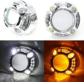 iJDMTOY (2) 3.0-Inch H1 Bi-Xenon HID Projector Lens w/Cayenne Style White/Amber Switchback LED Daytime Running Light Shroud For Headlight Retrofit, Custom Headlamps Conversion