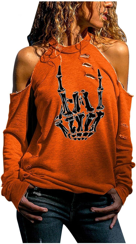 HULKAY Womens Halloween Long Sleeve Halter Tops Cut Out Cold Shoulder Tops Ghost Pumpkin Printed T Shirts