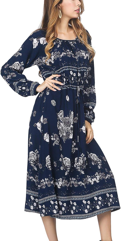 DANALA Women's Boho Dress Long Sleeve Floral Print Midi Dresses Pockets Empire Waist Pleated Long Dresses